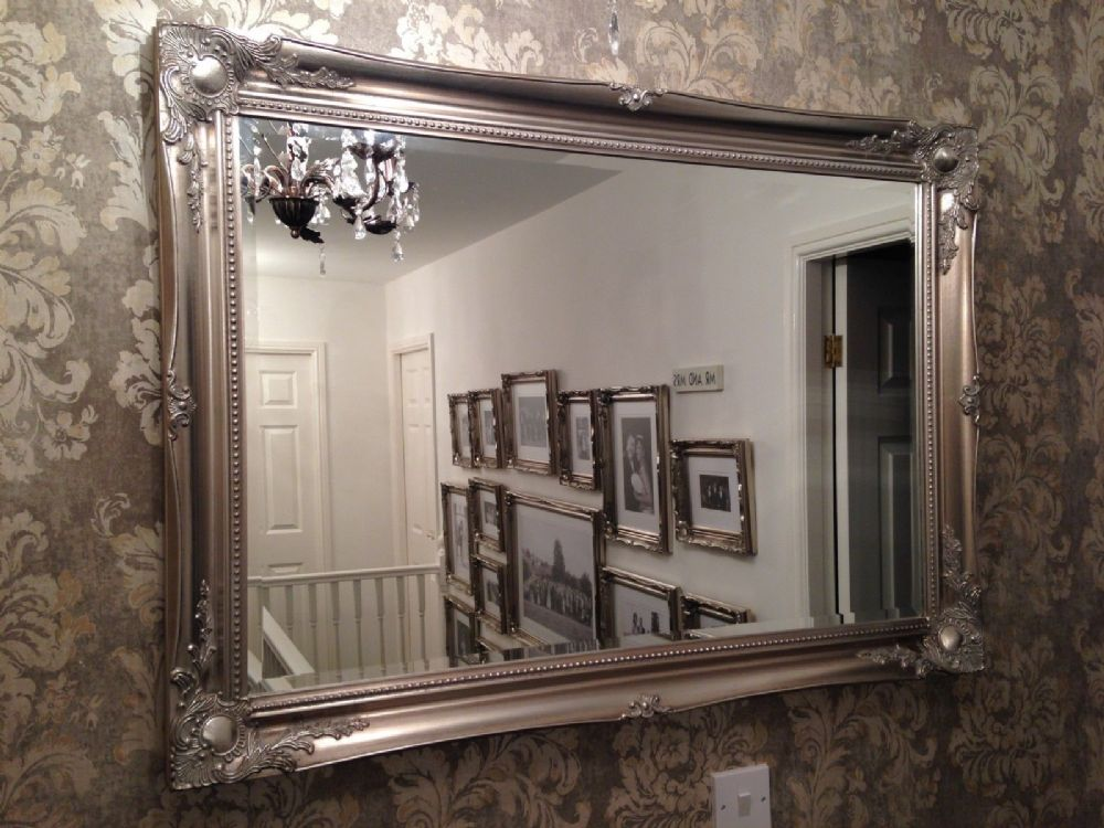 Large Antique Silver Shabby Chic Ornate Decorative Mirror